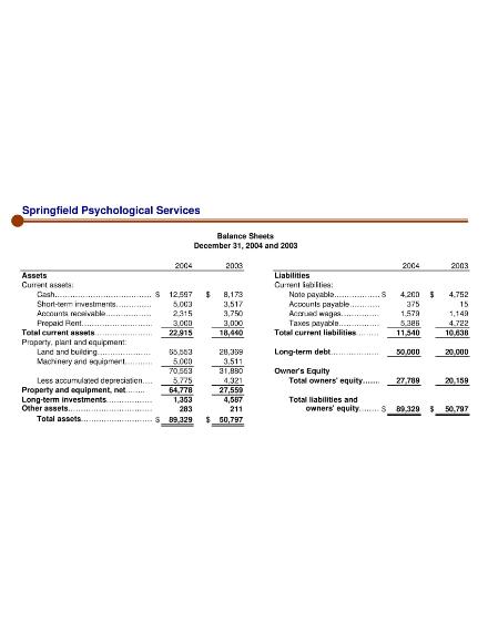 sample balance sheet for psychological services