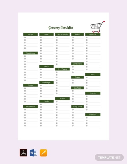 sample grocery checklist template