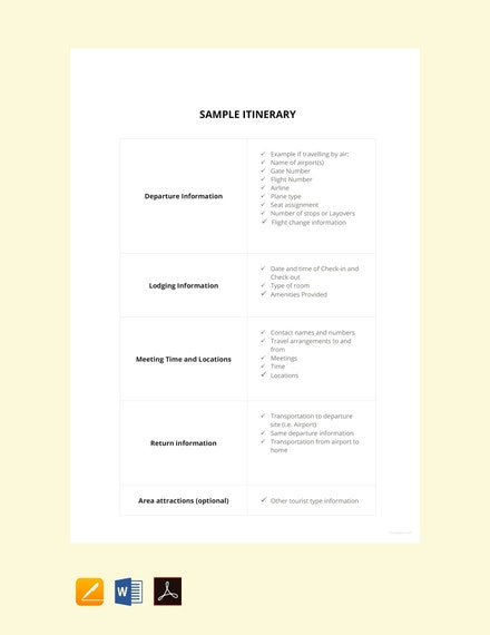 sample itinerary template