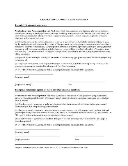 sample non compete agreement for employees