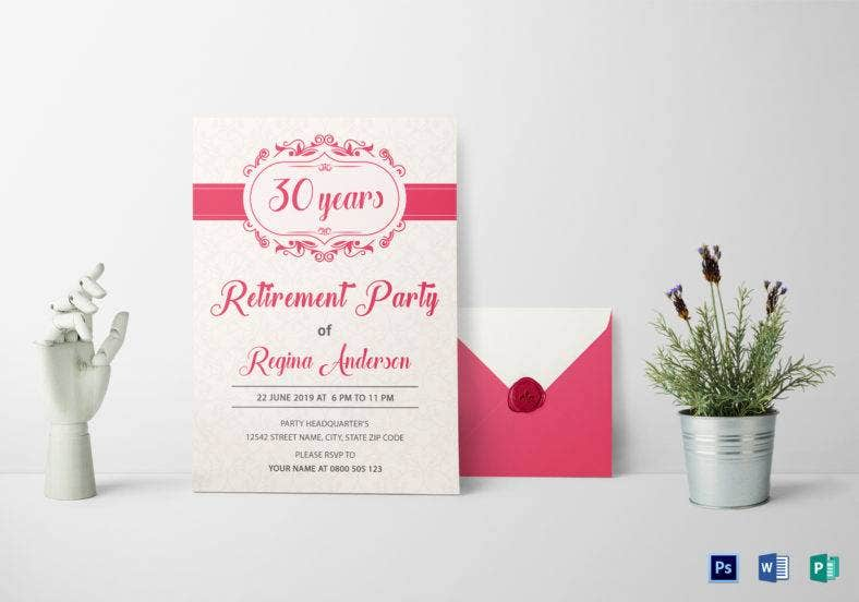 sample retirement party invitation template 788x552