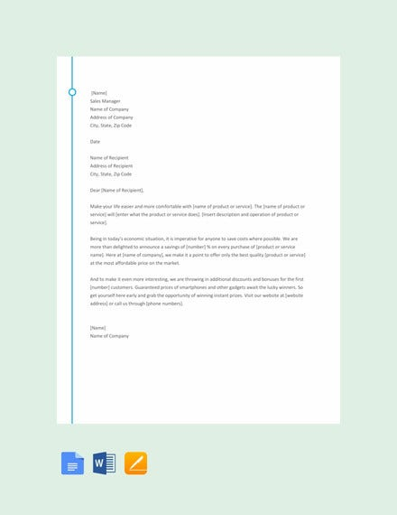 sample sales letter template