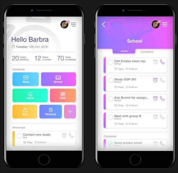 sample ui for daily planner app