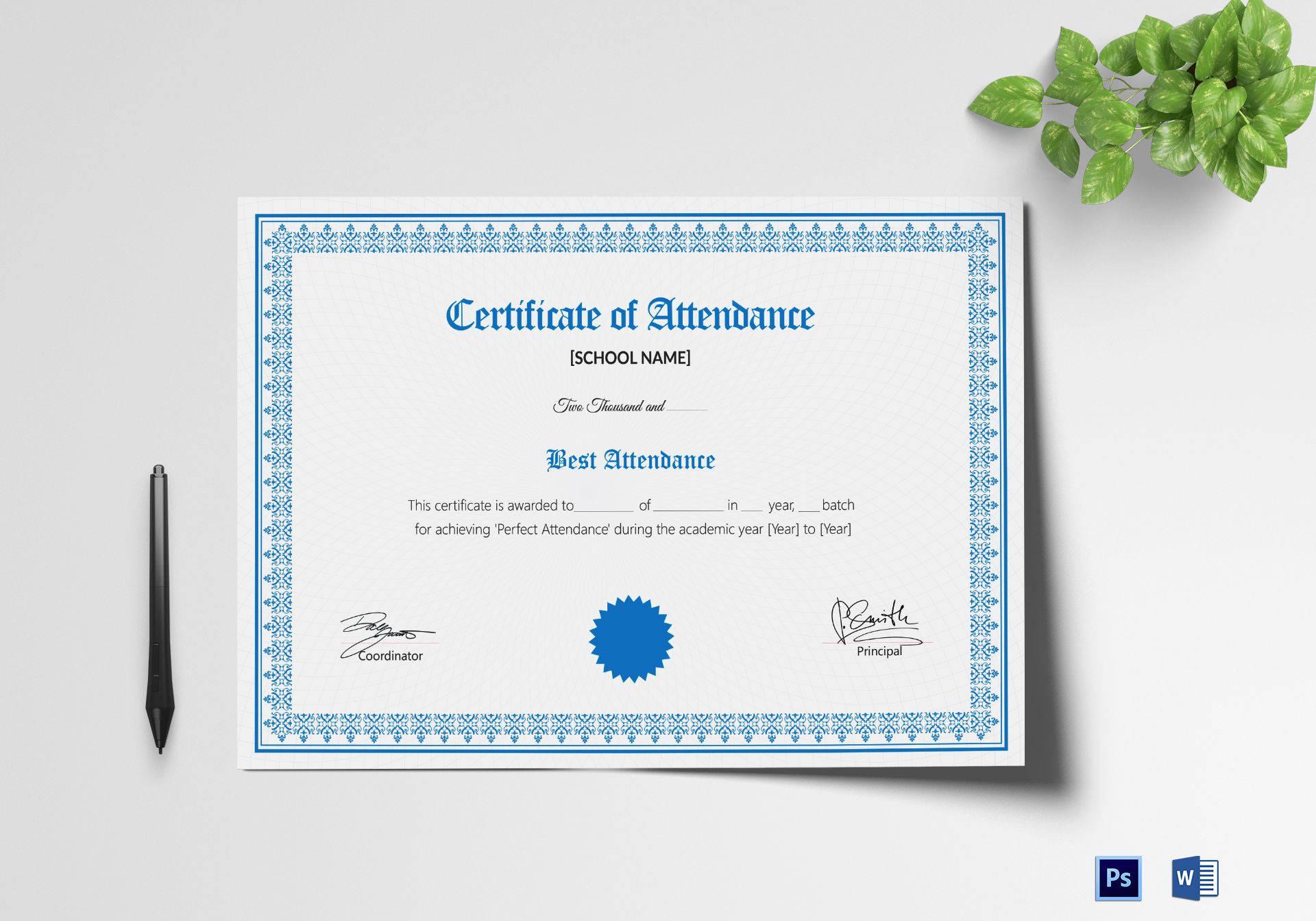 10 Attendance Certificate Templates Free Premium Templates