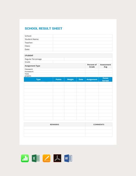 school result grade sheet