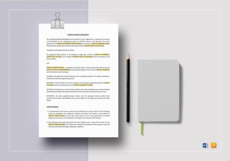 senior advisor agreement template 788x552