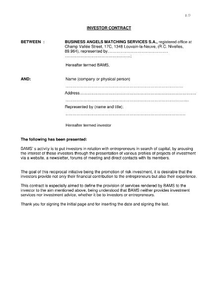 service business investment contract