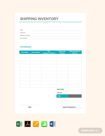 shipping inventory template