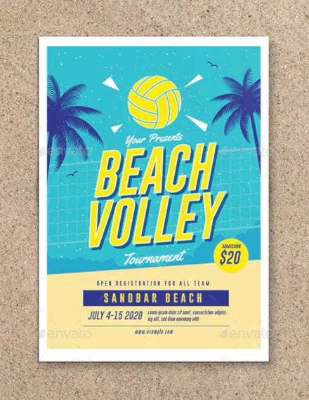 simple beach volleyball flyer