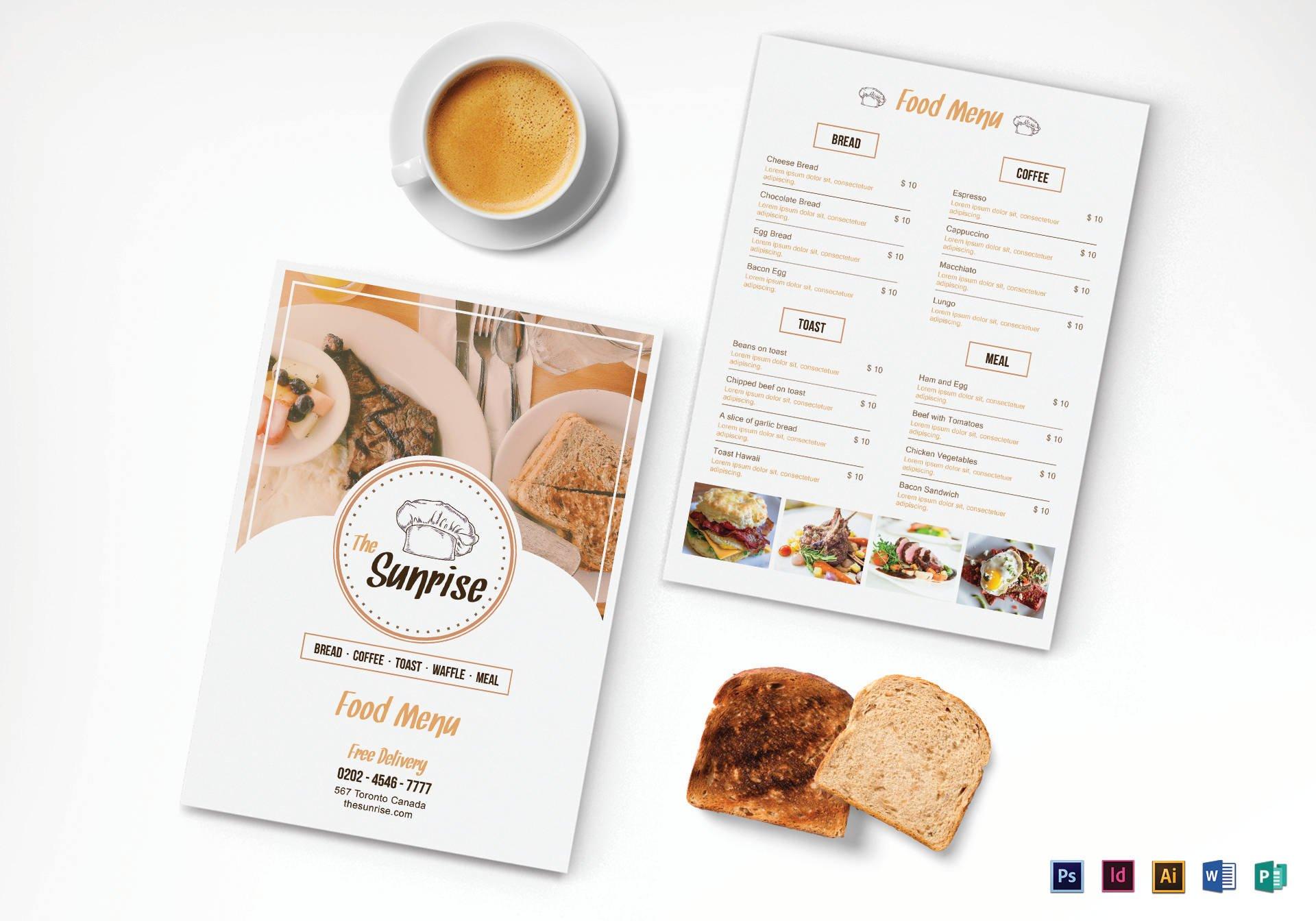 simple breakfast menu template1