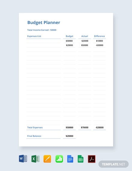 simple budget plan template