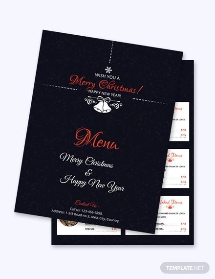 simple christmas menu card template1