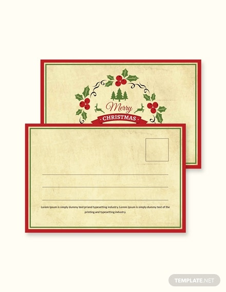 simple christmas postcard template