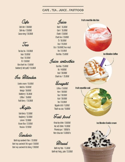 simple fastfood cafe menu layout