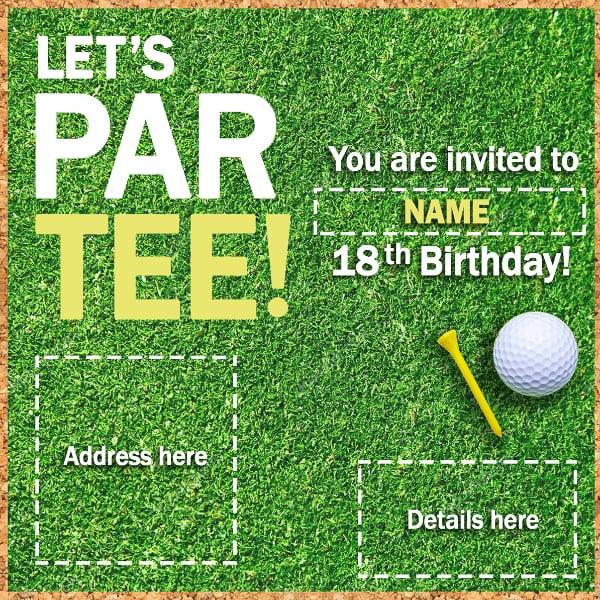 simple golf par tee invitation example