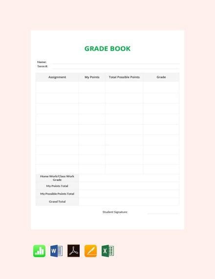 simple grade sheet