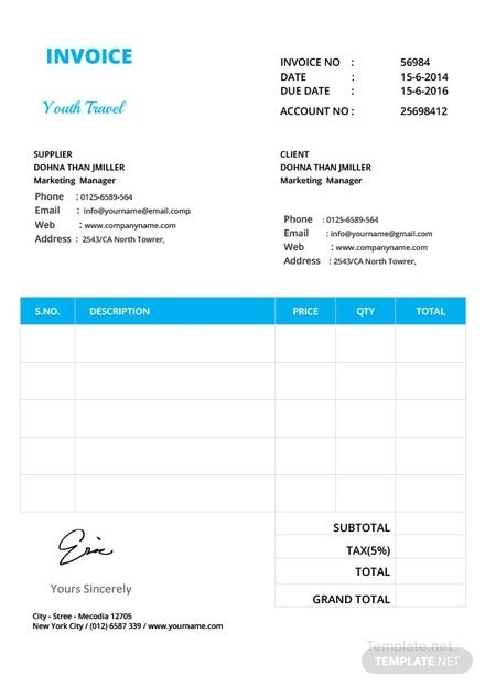 simple invoice format