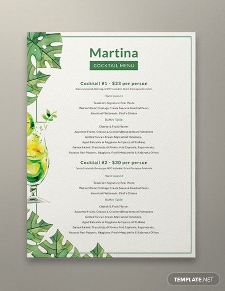 simple martina cocktail menu template