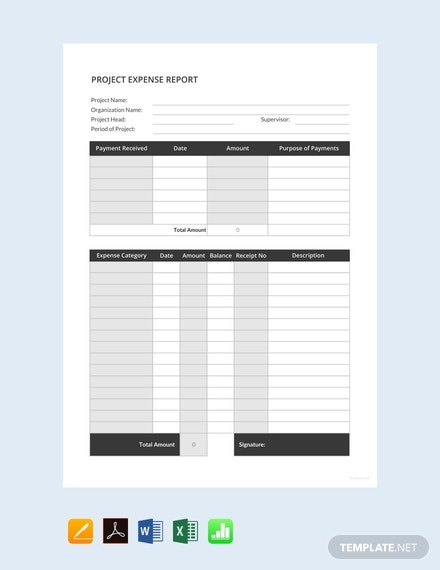 simple project expense report template