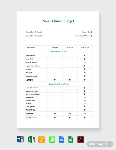 Small Church Budget Template