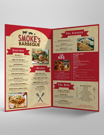 smokes bbq food menu design