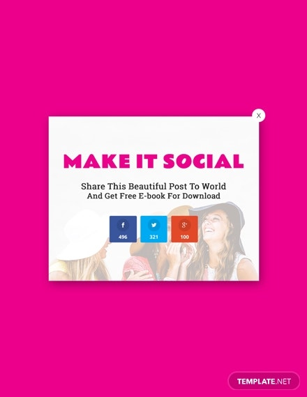 social media sharing pop up marketing psd template