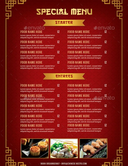 special chinese food menu example