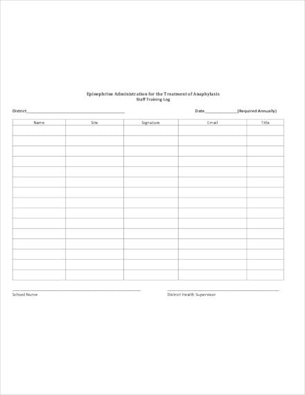 staff training log sign in sheet