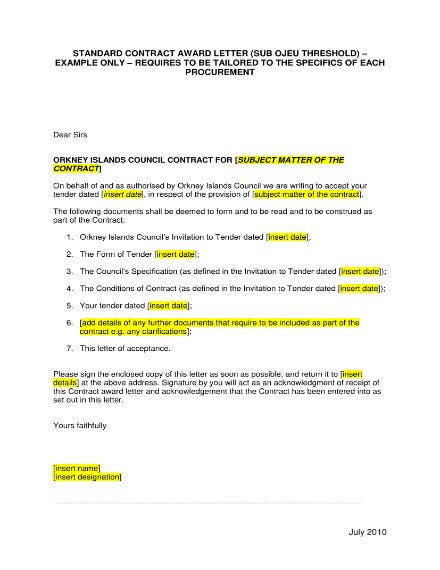 standard contract award letter template