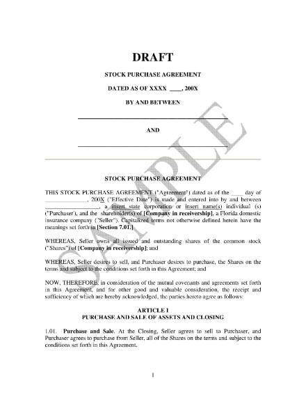 stock purchase agreement sample draft