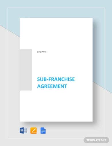 sub franchise agreement template