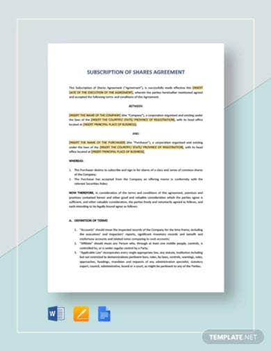 subscription of shares agreement