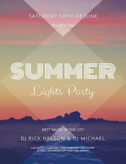 summer lights party flyer