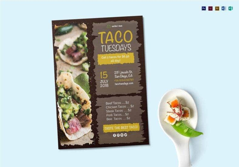 taco tuesdays flyer template 788x552
