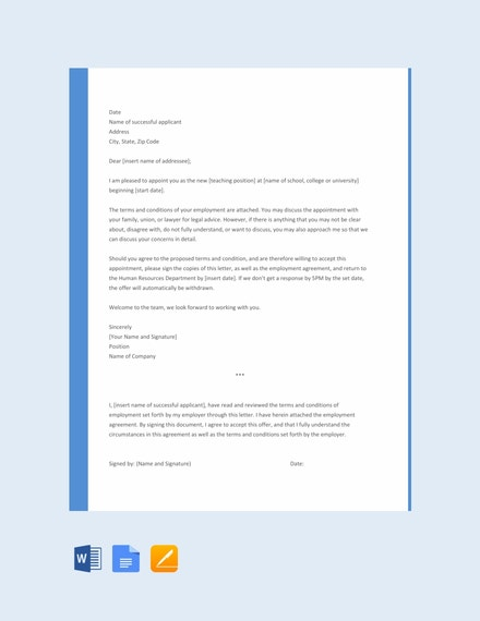 teacher appointment reminder letter