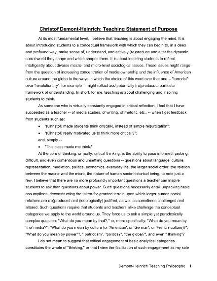 teaching degree statement of purpose
