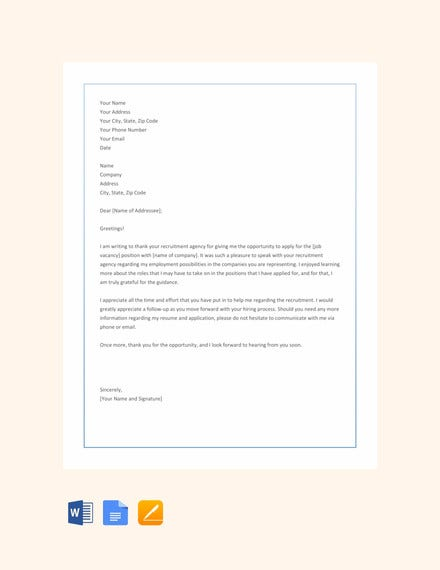 thank you letter to recruiter agency template