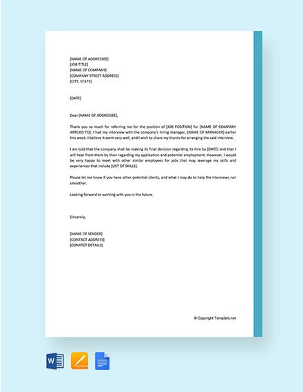 thank you letter to recruiter for arranging interview