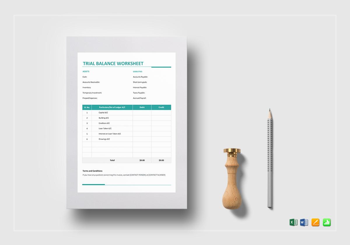 trial balance worksheet template