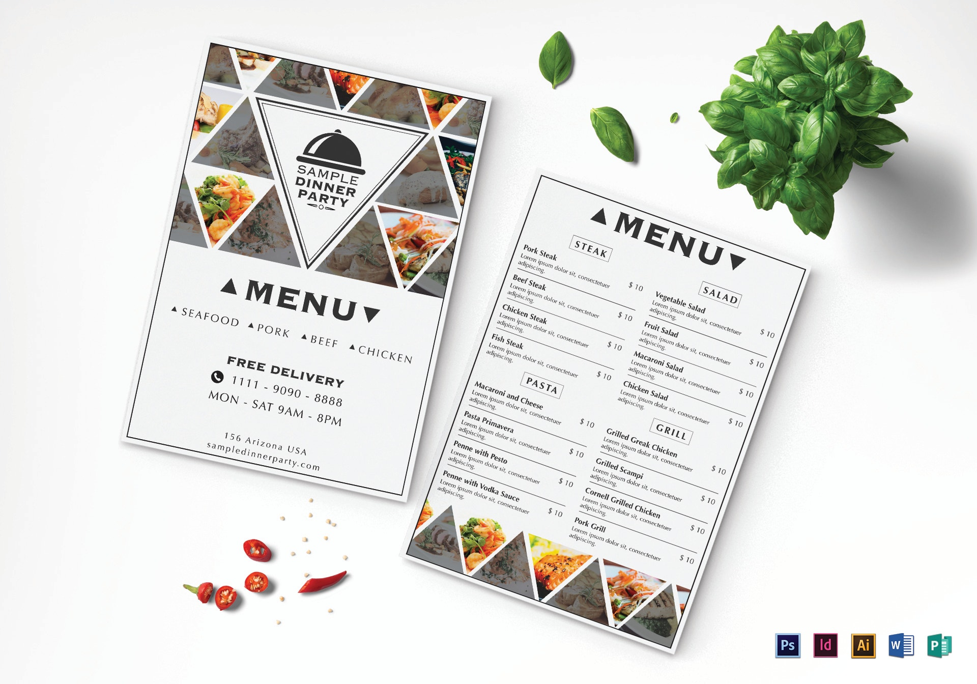 triangles dinner party menu design