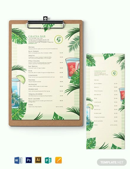 tropical cocktail menu template
