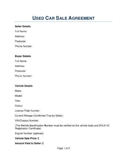 used car sale agreement 1