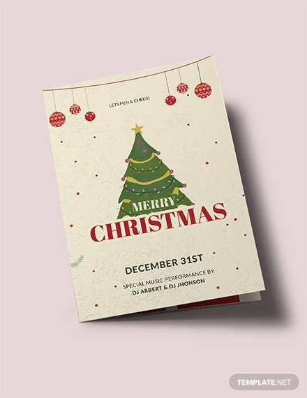vintage christmas bi fold brochure template