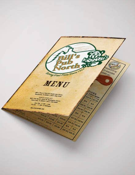 vintage pizza menu template