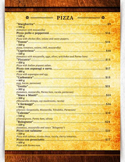 vintage style italian menu sample