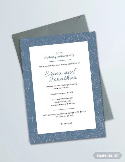 wedding anniversary invitation card template