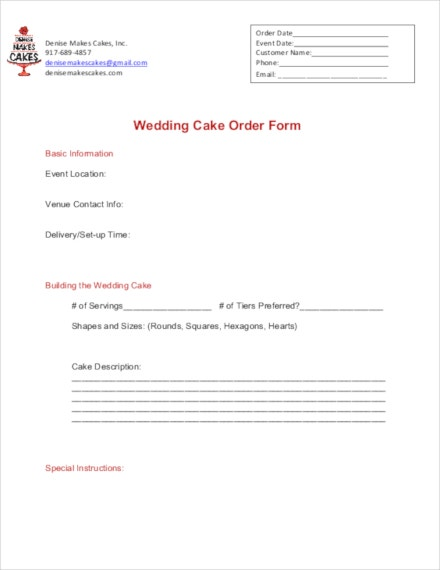 wedding cake order template