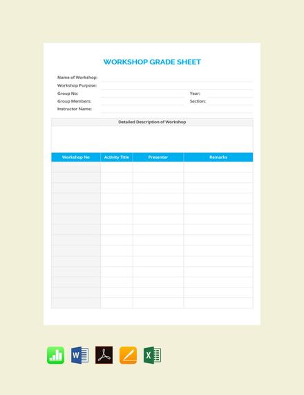 workshop grade sheet