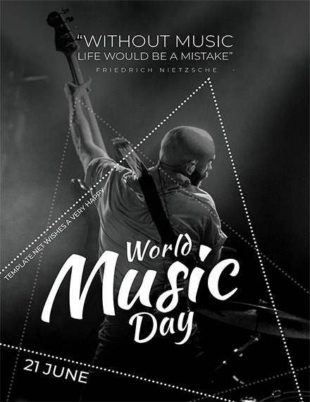 world music day greeting card template sample