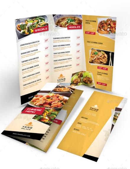 yang chinese food menu template